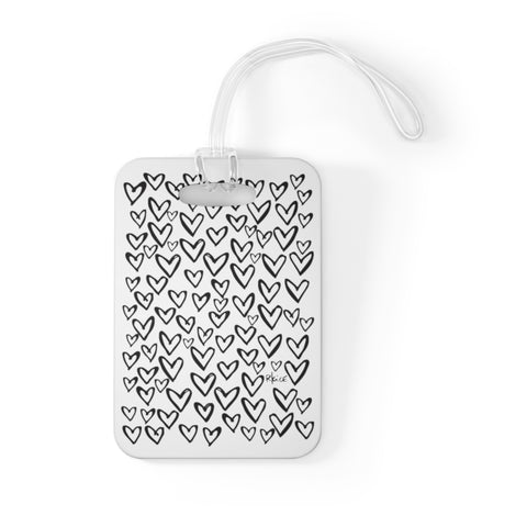Sketchy Heart B&W Bag Tag