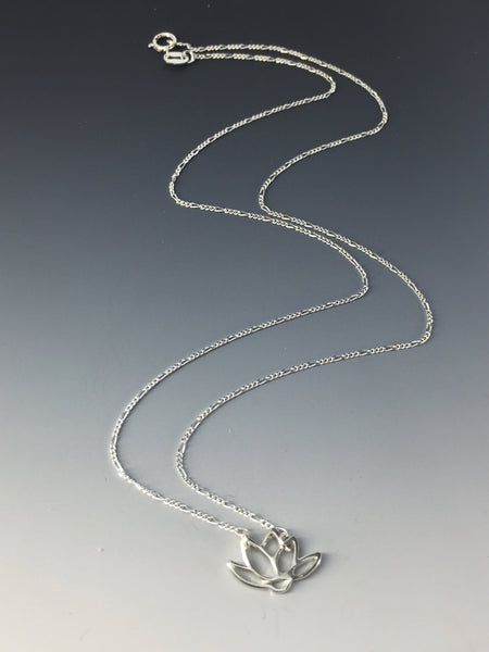 Peace in Music Sterling Silver Lotus Necklace