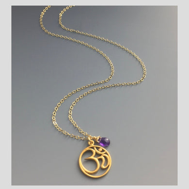 Peace in Music Large Ohm 14k Amethyst Necklace