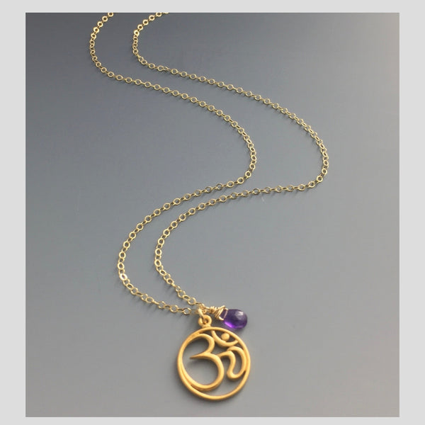 Peace in Music Large Ohm 14k Gold Amethyst Necklace