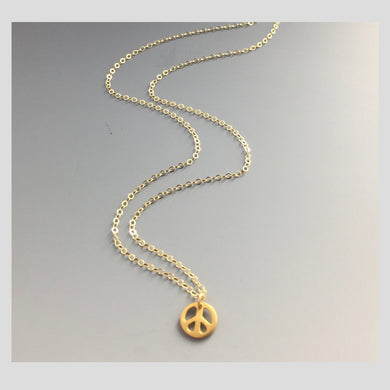 Peace in Music 14k Gold Peace Necklace