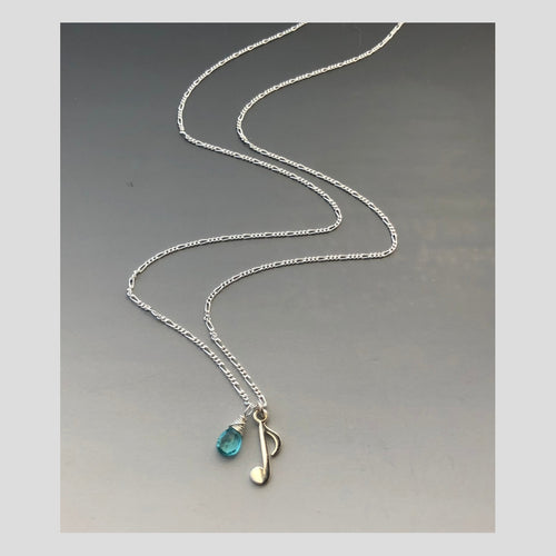 Peace in Music Small Note Apatite Sterling Silver Necklace