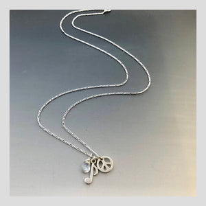 Peace in Music Moonstone Note Peace Silver Necklace
