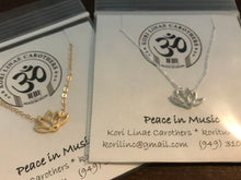 Load image into Gallery viewer, Peace in Music 14k Gold Lotus Necklace