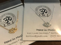 Peace in Music 14k Gold Lotus Necklace