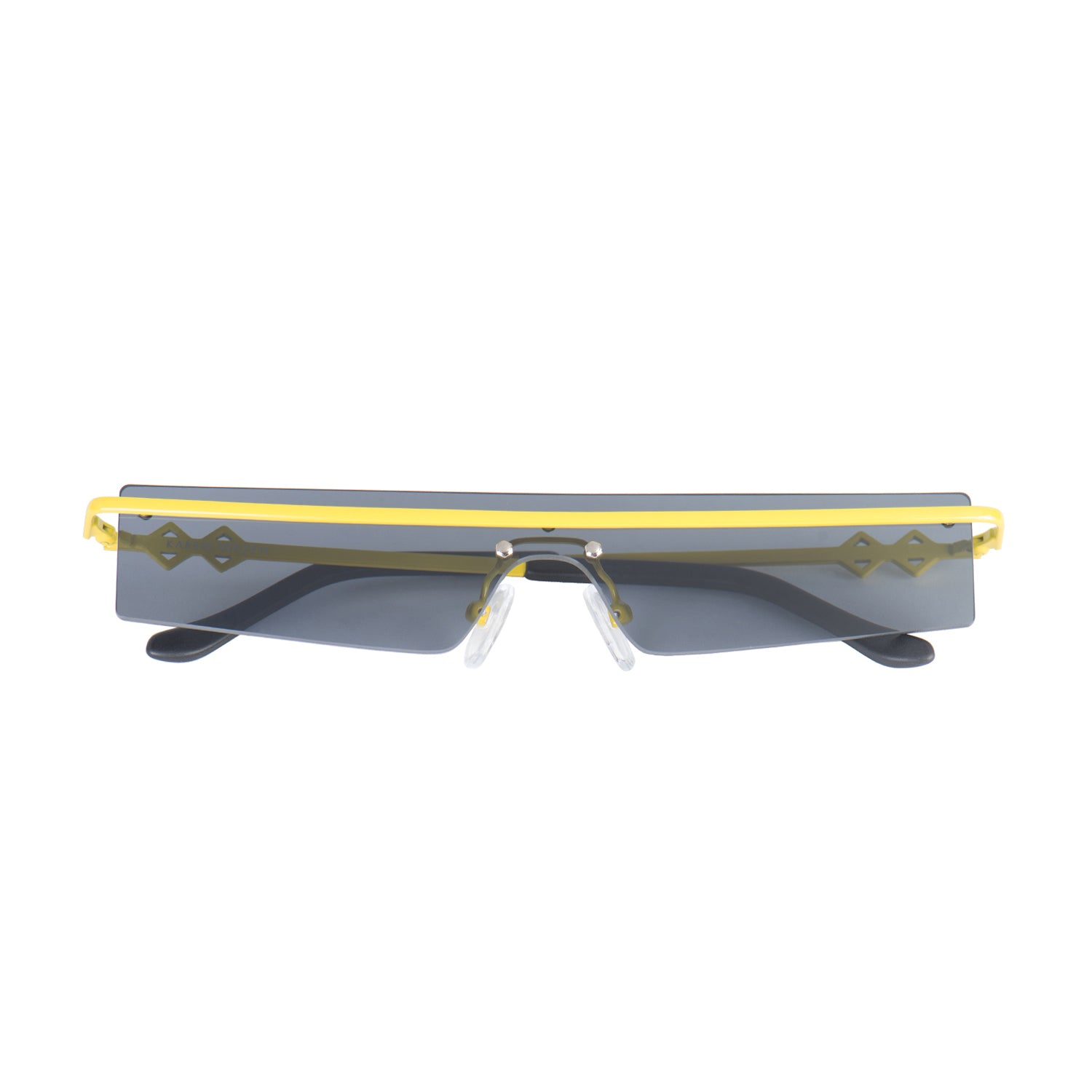Frameless rectangle sunglasses with black lenses and yellow frames | Metal | 80's | Women's sunglasses | Karen Wazen Eyewear