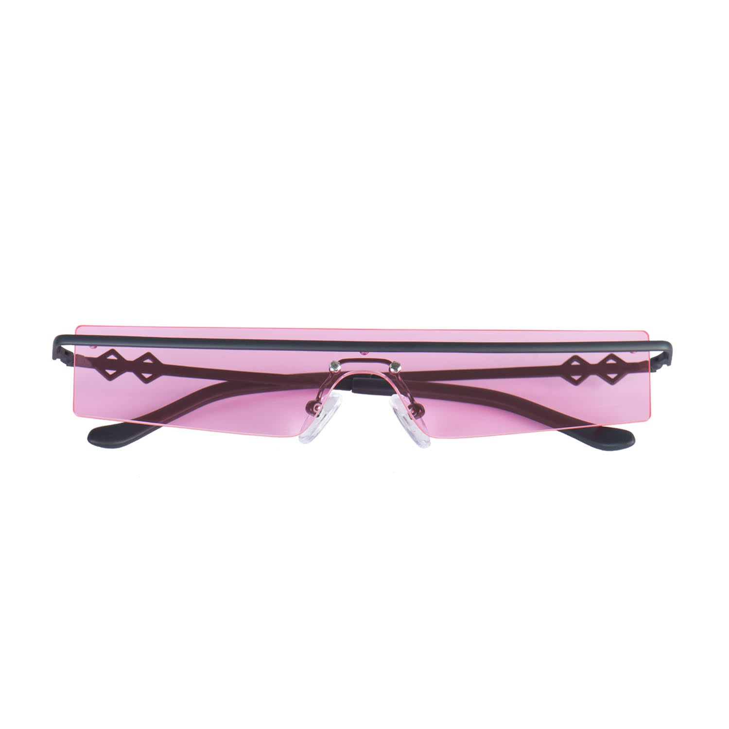 Frameless rectangle sunglasses with pink lenses and black frames | Metal | 80's | Women's sunglasses | Karen Wazen Eyewear
