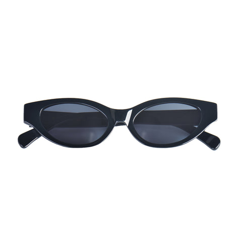 Cat-like sunglasses with black lenses and black frames | Acetate | Glamorous | Women's sunglasses | Karen Wazen Eyewear
