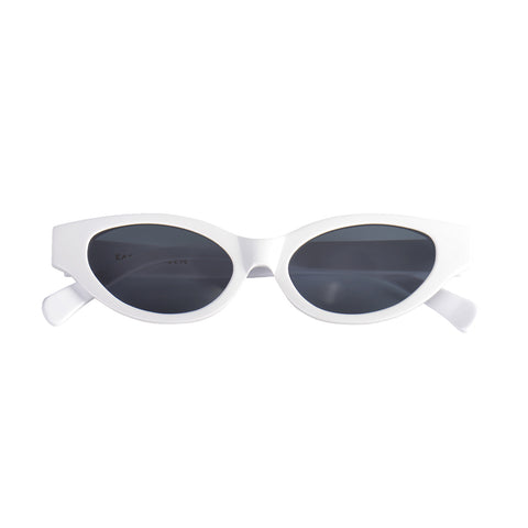 Cat-like sunglasses with black lenses and white frames | Acetate | Glamorous | Women's sunglasses | Karen Wazen Eyewear