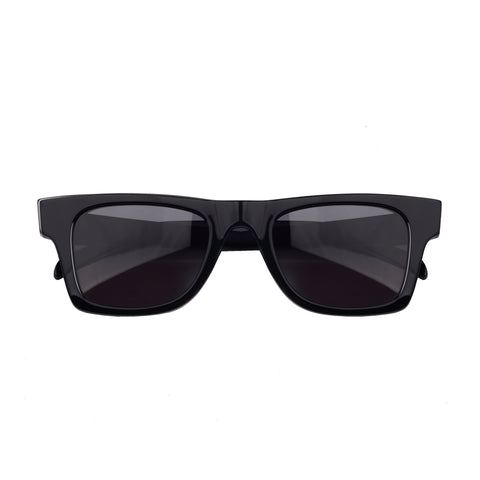 Wayfarer sunglasses with black lenses and black frames | Acetate | Harper | Women's, men's, and unisex sunglasses | Karen Wazen Eyewear