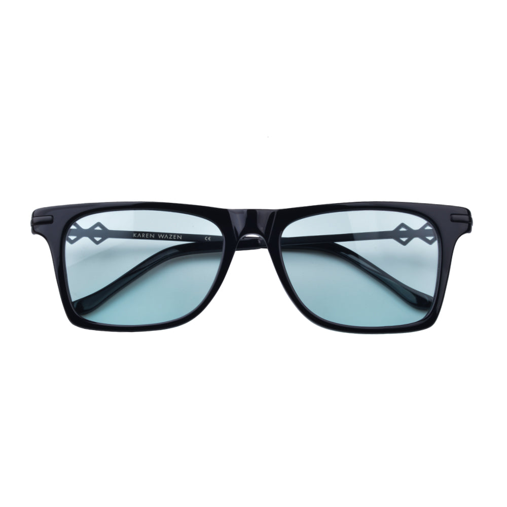 Wayfarer sunglasses with cyan lenses and black frames | Metal | Harper | Women's, men's, and unisex sunglasses | Karen Wazen Eyewear