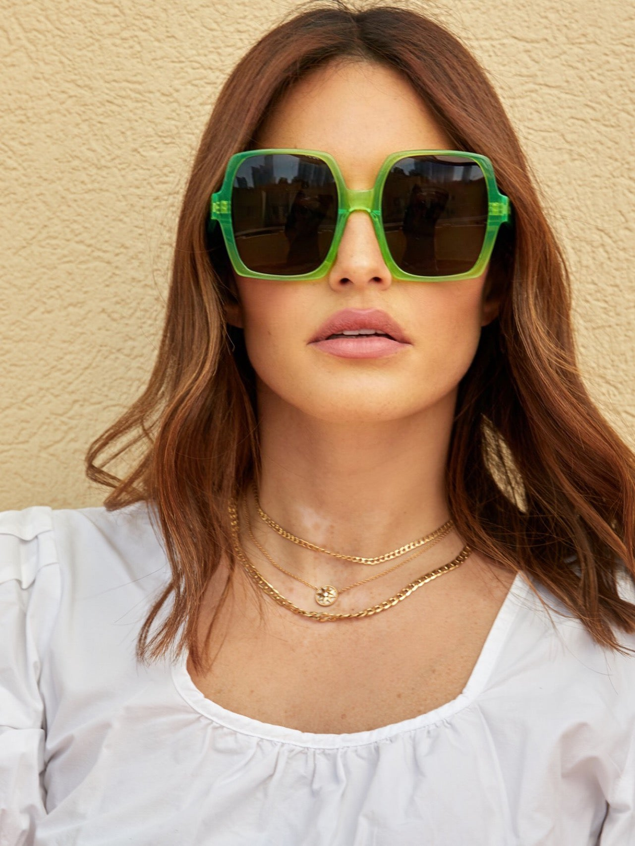 Square sunglasses with black lenses and neon green frames | Acetate | Kaia | Women's sunglasses | Karen Wazen Eyewear