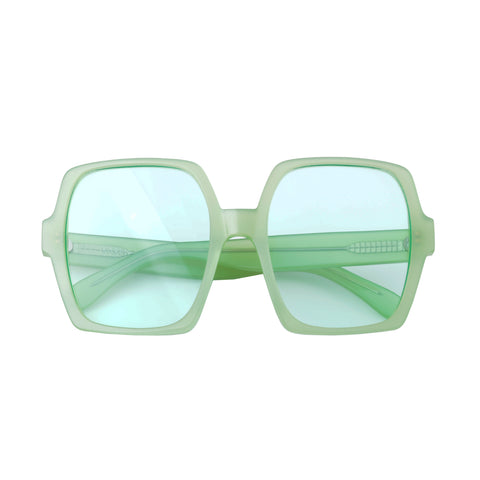 Square sunglasses with green lenses and pastel green frames | Acetate | Kaia | Women's sunglasses | Karen Wazen Eyewear