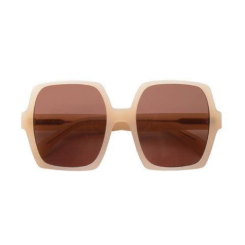 Square sunglasses with brown lenses and beige frames | Acetate | Kaia | Women's sunglasses | Karen Wazen Eyewear
