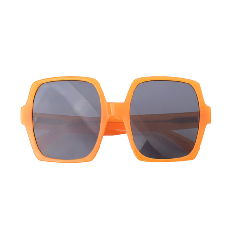 Square sunglasses with black lenses and orange frames | Acetate | Kaia | Women's sunglasses | Karen Wazen Eyewear