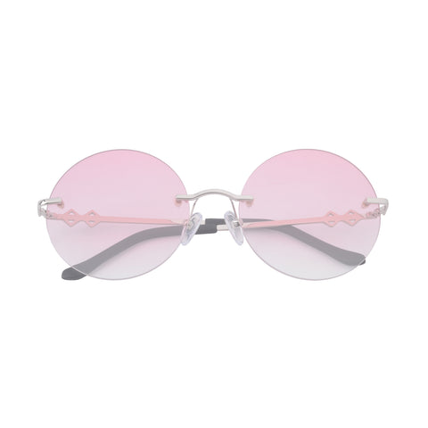 Frameless round sunglasses with pink lenses and silver frames | Metal | Luna | Women's sunglasses | Karen Wazen Eyewear