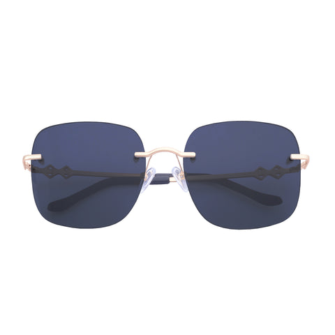 Frameless square sunglasses with navy blue lenses and gold frames | Metal | Madison | Women's sunglasses | Karen Wazen Eyewear