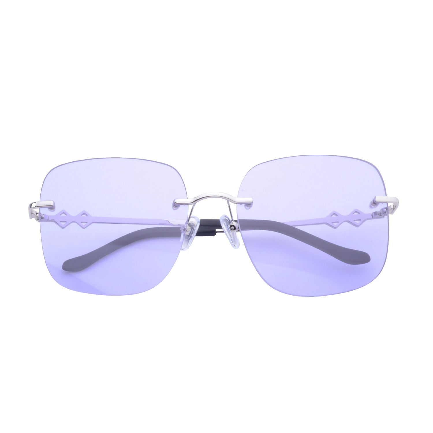 Frameless square sunglasses with violet lenses and silver frames | Metal | Madison | Women's sunglasses | Karen Wazen Eyewear