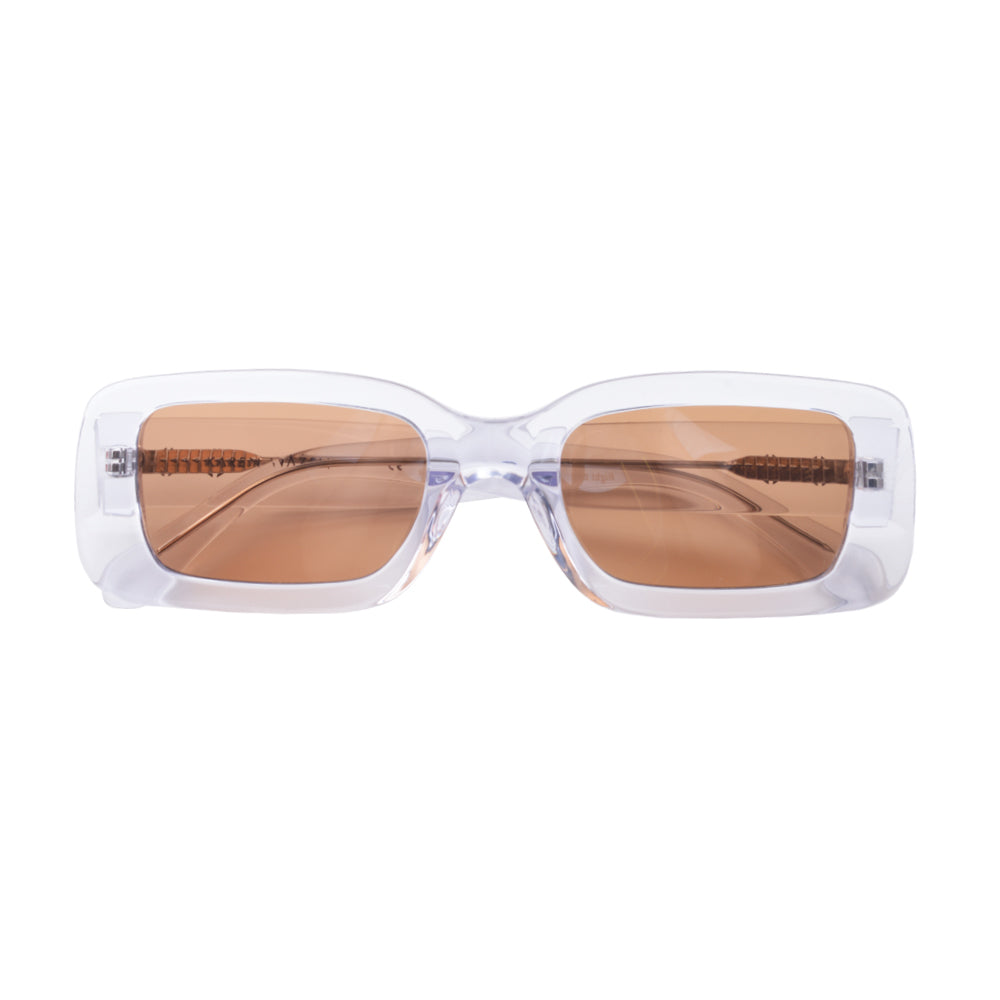 Rectangle round sunglasses with brown lenses and clear frames | Acetate | Kenny | Women's sunglasses | Karen Wazen Eyewear