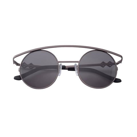 Round sunglasses with black lenses and black frames | Metal | Retro's XL | Women's, men's, and unisex sunglasses | Karen Wazen Eyewear