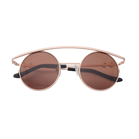 Round sunglasses with brown lenses and gold frames | Metal | Retro's XL | Women's, men's, and unisex sunglasses | Karen Wazen Eyewear