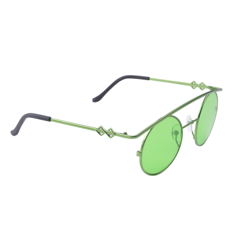 Round sunglasses with green lenses and green frames | Metal | Retro's XL | Women's, men's, and unisex sunglasses | Karen Wazen Eyewear