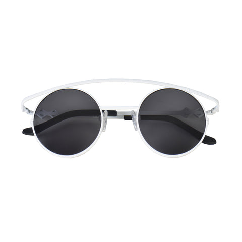 Round sunglasses with black lenses and white frames | Metal | Retro's XL | Women's, men's, and unisex sunglasses | Karen Wazen Eyewear