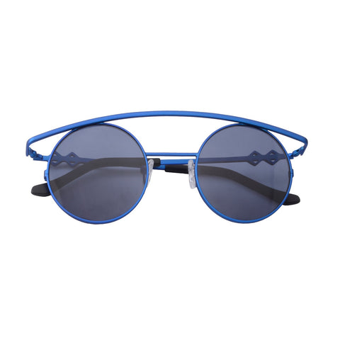 Round sunglasses with blue lenses and blue frames | Metal | Retro's XL | Women's, men's, and unisex sunglasses | Karen Wazen Eyewear