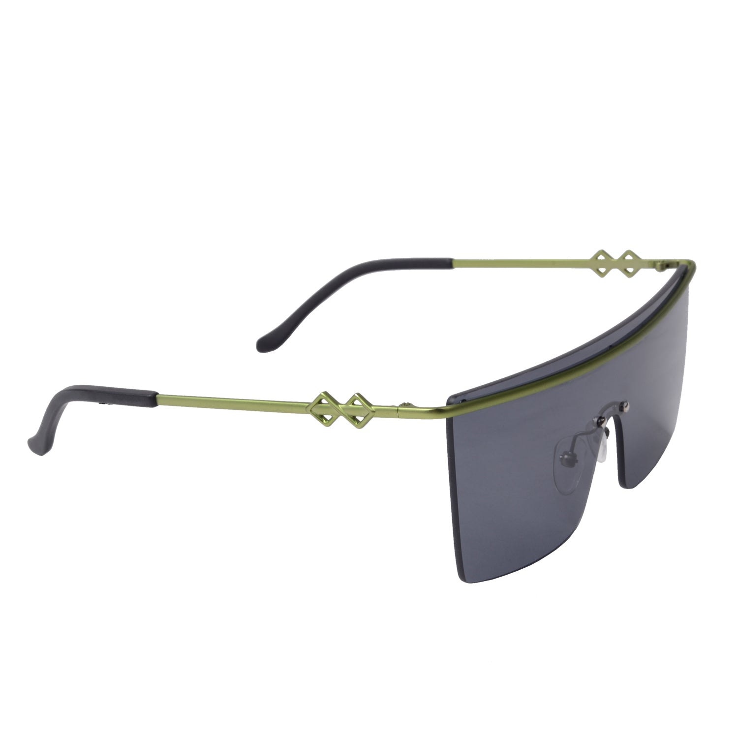 Frameless square sunglasses with black lenses and green frames | Metal | Skylar | Women's sunglasses | Karen Wazen Eyewear
