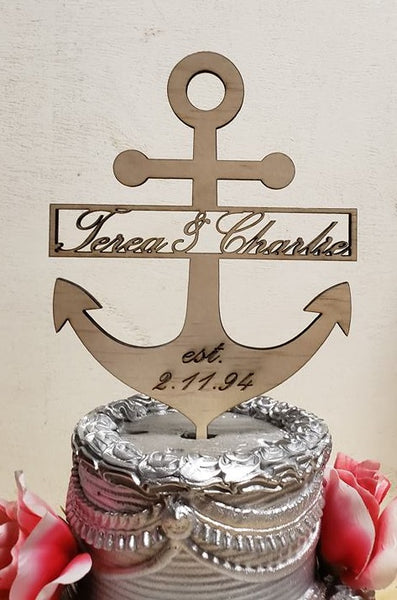 Anchor  cake topper with or without Name, Wedding Topper, Nautical Anchor centerpiece, Shipmate anchor cake topper, anniversary topper