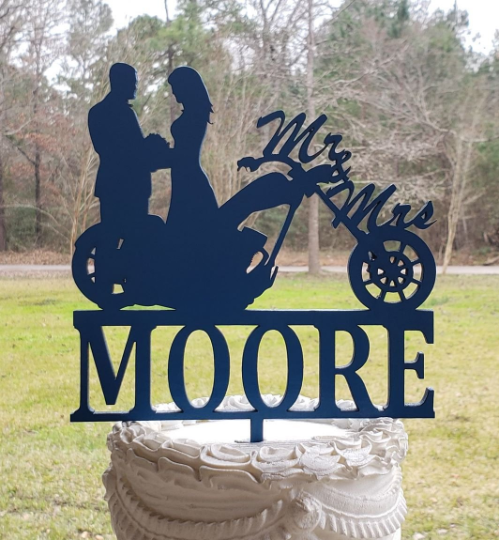 Mr and Mrs, Motorcycle Wedding cake topper, centerpiece,Party decor, Anniversary topper, Last name , Elegant wedding decor, motorcycle,biker, wedding,