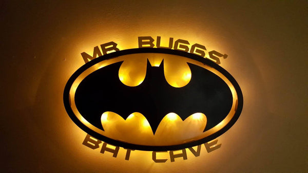 Batman Inspired Lighted 3D sign!  Custom wording, kids, man cave, birthday, wall decor,retro batman, dc comic, Superhero,fan cave