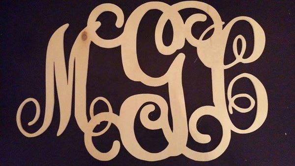 "3 Letter Monogram - Unfinished Wood - MDF 1/4"" - 34x24 approx"