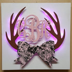 Antlers Monogram sign, Antlers with bow sign, Lighted Antlers monogram, Girls antlers, Lighted Antlers,lighted sign,