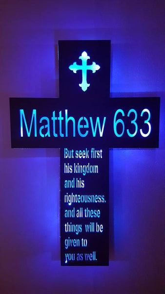 Wood Cross sign,Cross night light,Inspirational cross,Religious cross,Psalm 633,Matthew 633 wall  art,Church wall cross,Christian wall cross