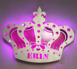 Princess Crown LED lighted sign with Name - Women and Girls decor, Gift, Nightlight, Customized, Fairy Tale, princess, Queen, Diva Crown,