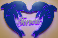 Customized Dolphin, Heart, LED lighted Sign, Wedding , Anniversary, Customized gift,Love, sea animals, Forever, Wall art, Custom name,