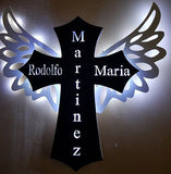 Angel wings, Cross, Led lighted, Sign, Custom Name, Date, Color, Church,Baptism party decor, missed love one memorial, Marker, Wall decor,