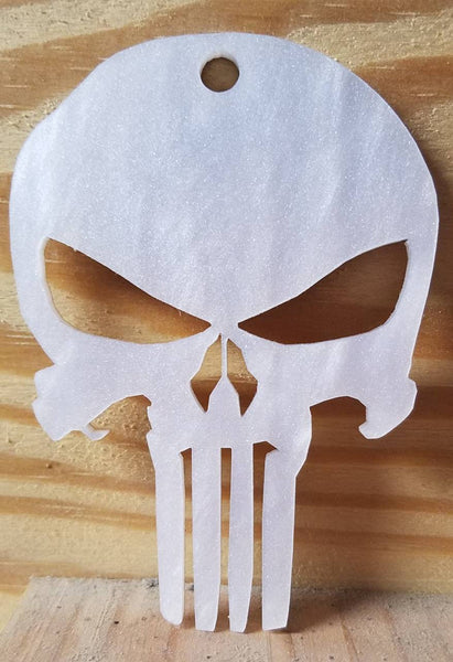 3 inch,Punisher charm. Perfect for DIY craft, Necklaces, Made Of pearl white cast acrylic, made to order, wholes sale price, Free shipping.