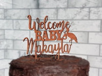 Welcome Baby cake topper, storke,  Birthday Topper, Cupcake topper, Baby First day home cake, Baby topper, Baby Reveal, Free ship
