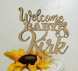 Welcome Baby cake topper, Teddy Bear Topper, custom baby topper, Baby First day home cake, Baby topper, Baby Reveal, Customized Cake topper