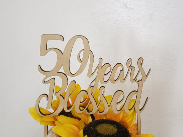 50 years blessed, Gold wedding topper,  50th Birthday topper, 50th anniversary topper, Script cake topper,Glitter 50th topper, custom topper