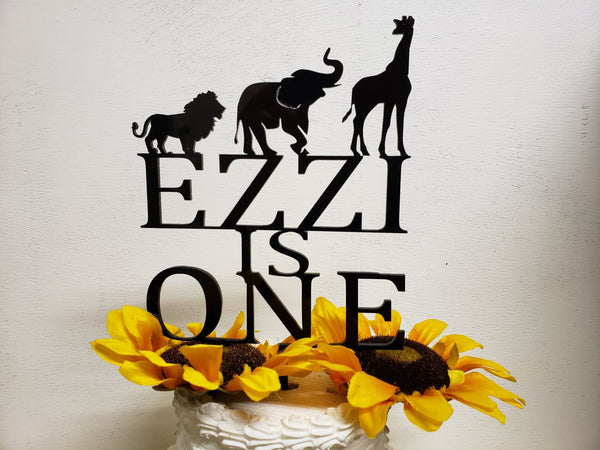 Zoo Animal topper, Baby 1st topper, Custom Cake topper, One topper, Safari topper, Elephant topper, Giraffe topper, Lion topper,Custom