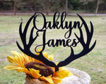 Custom deer antler,Antlers,Custom name,Newborn Birthday antler topper,Browning cake topper,Antlers cake topper, Wedding antler cake topper