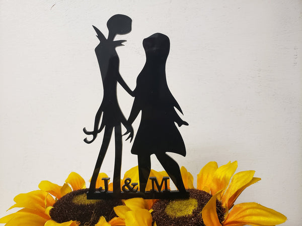 Jack and Sally, nightmare before Christmas, Simply meant to be, Wedding, Anniversary, Valentines day, jack skeleton,initials Cake topper,