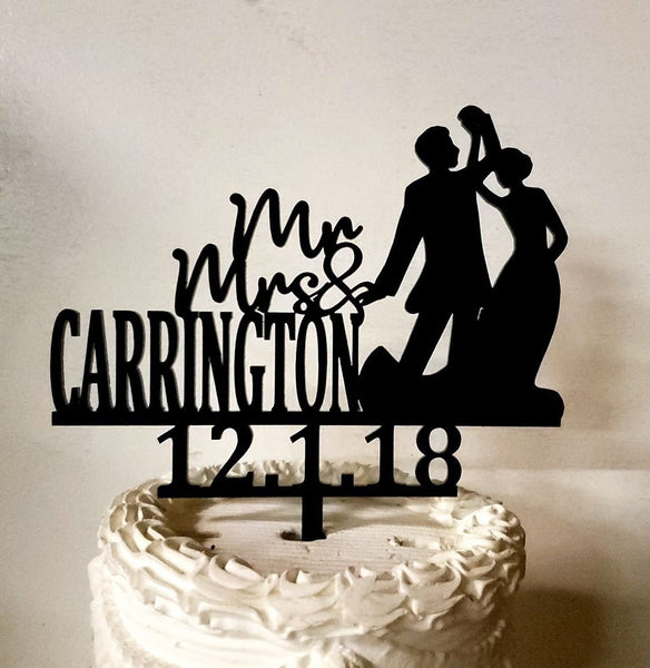 Dancing Couple ,Mr and Mrs, Wedding cake topper,First Dance, Silver topper,Anniversary topper,Elegant wedding decor,Custom name topper
