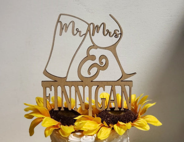 Mr & Mrs Wedding Last name, Congrats Cake topper,Personalized Cake Topper,Cheers Topper,Wine glass,beer mug,Tradition Topper,Anniversary top