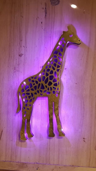 Giraffe,Wood Giraffe shape,animal sign, zoo sign,long neck led sign,exotic animal sign,Giraffe Night light, Giraffe wall art,Africa Animal,