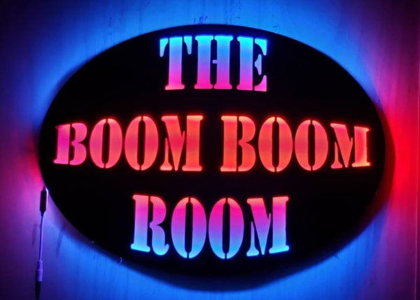 The Boom Boom Room man cave  Personalized Lighted LED  sign, Man Cave, Garage Sign, gift for him, gift for her,