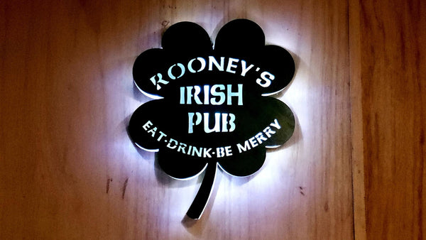 4 Leaf Clover, Man cave, family name, you name it,  lighted sign! Your design, Custom man cave decor, Bar sign